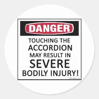 Danger Accordion Round Sticker