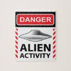Danger Alien Activity Warning Sign Vector Jigsaw Puzzle