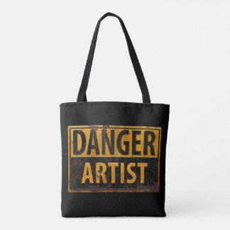 DANGER ARTIST Distressed Metal Rust Sign Tote Bag