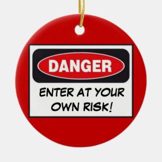 DANGER - ENTER AT YOUR OWN RISK! Door Hanger Round Ceramic Decoration