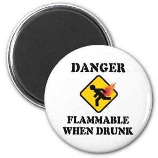 Danger Flammable When Drunk Fart Humor Fridge Magnet