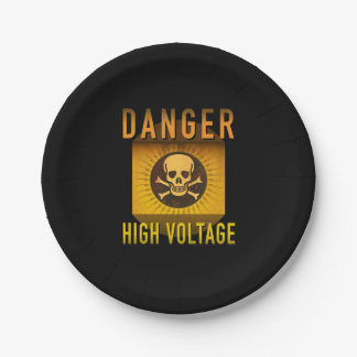Danger High Voltage Retro Atomic Age Grunge : Paper Plate