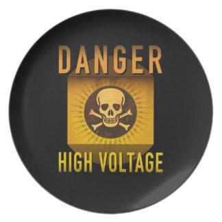 Danger High Voltage Retro Atomic Age Grunge : Plate