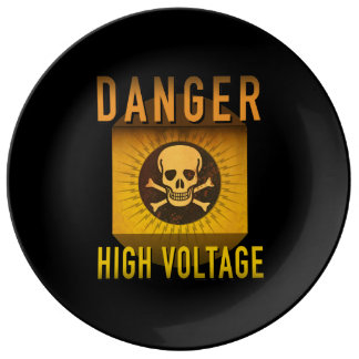 Danger High Voltage Retro Atomic Age Grunge : Plate
