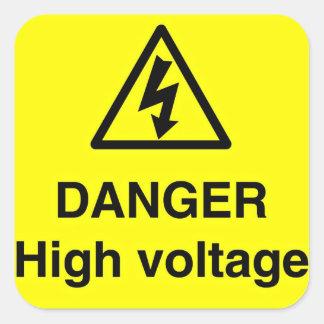 Danger High Voltage Sign Square Sticker