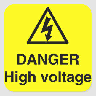 Danger High Voltage Sign Square Sticker