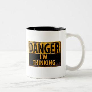 DANGER I'm thinking, funny sign distressed metal Two-Tone Coffee Mug