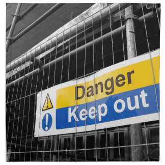 Danger Keep Out sign Printed Napkin
