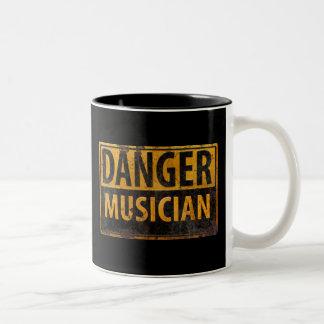 DANGER MUSICIAN, funny sign distressed metal Two-Tone Coffee Mug