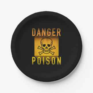 Danger Poison Warning Retro Atomic Age Grunge : Paper Plate