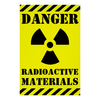 DANGER RADIOACTIVE MATERIALS Sign Halloween Prop