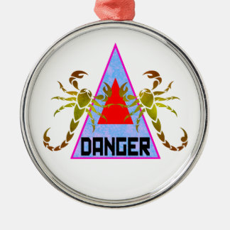 Danger Silver-Colored Round Decoration