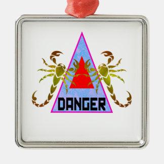 Danger Silver-Colored Square Decoration