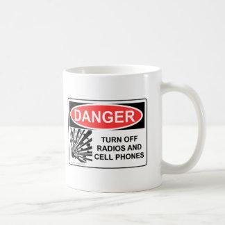 DANGER TURN OFF RADIOS AND CELL PHONES COFFEE MUG