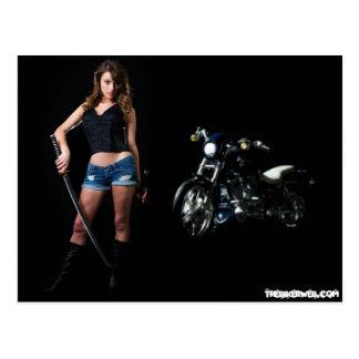 Dangerous Biker Babe Postcard