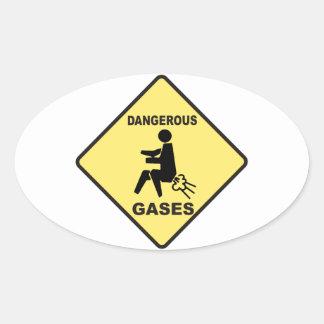 Dangerous Gases Oval Sticker