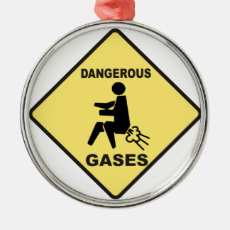 Dangerous Gases Silver-Colored Round Decoration