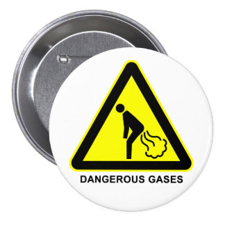 Dangerous Gases Warning Sign Button