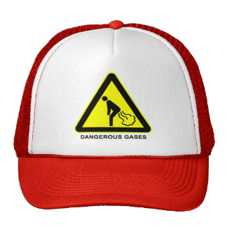 Dangerous Gases Warning Sign Cap Mesh Hat