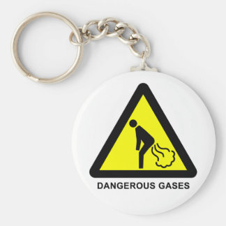 Dangerous Gases Warning Sign Tag Basic Round Button Key Ring