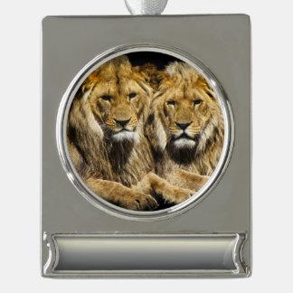 Dangerous Predator Lions Silver Plated Banner Ornament