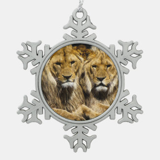 Dangerous Predator Lions Snowflake Pewter Christmas Ornament