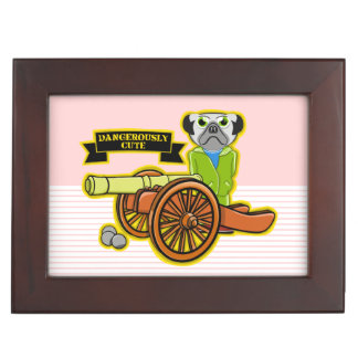 Dangerously Cute Pug Keepsake Box