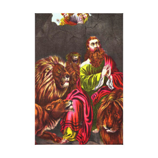 Daniel in the lion`s den Wrapped Canvas Stretched Canvas Print