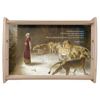 Daniel in the Lion's Den Bible Art Scripture Serving Tray