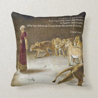 Daniel in the Lion's Den Bible Art Scripture Throw Pillow