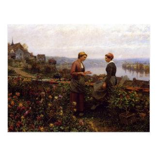"""Daniel Ridgway Knight """"Gossiping"""" Postcard"""