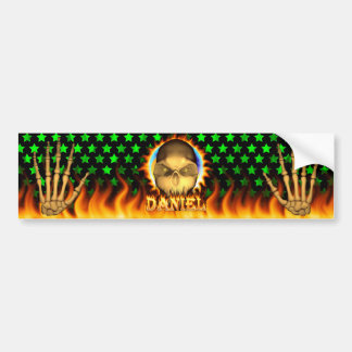 Daniel skull real fire and flames bumper sticker d