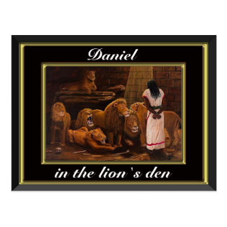 Daniel standing in the lions den black postcard