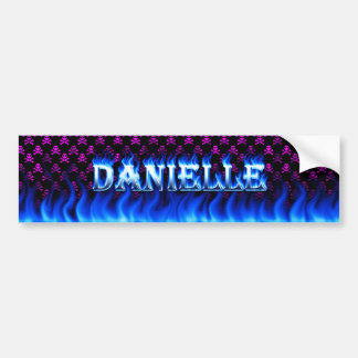 Danielle blue fire and flames bumper sticker desig
