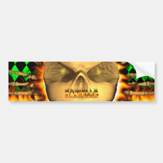 Danielle skull real fire and flames bumper sticker