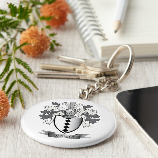 Daniels Family Crest Coat of Arms Key Ring