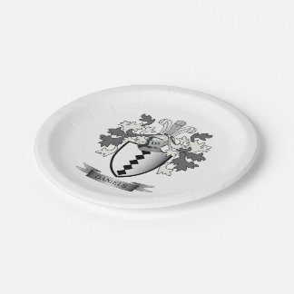 Daniels Family Crest Coat of Arms Paper Plate