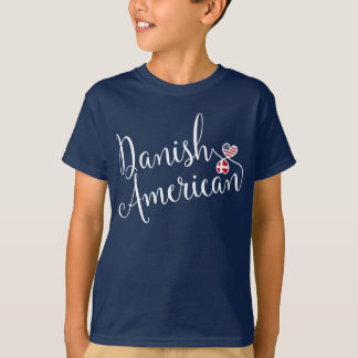 Danish American Entwinted Hearts T-Shirt, Denmark T-Shirt