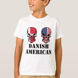 Danish American Flag Skulls T-Shirt