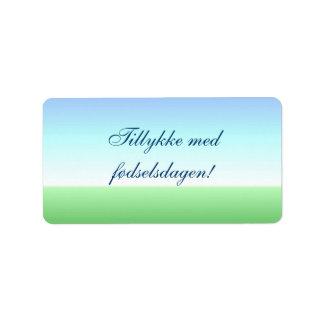 Danish Birthday Green and Blue Label Address Label