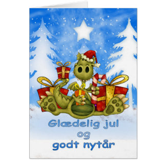 Danish Christmas Card - Cute Dragon - VGlaedelig J