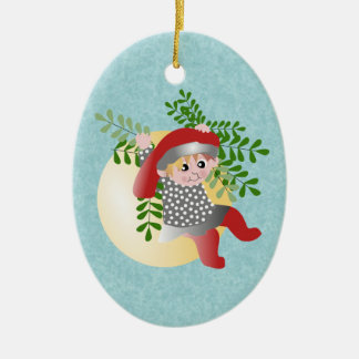 Danish Christmas Elf Ceramic Ornament