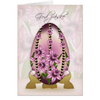Danish Easter Card With Decorated Egg And Daffodil