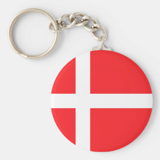 Danish Flag Basic Round Button Key Ring