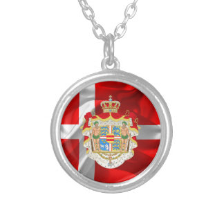 Danish flag-Coat of arms Silver Plated Necklace