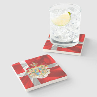 Danish flag-Coat of arms Stone Coaster