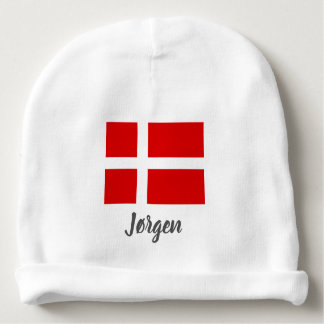 Danish flag of Denmark baby beanie hat for kids