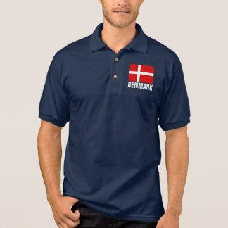 Danish flag of Denmark custom polo shirts