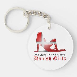 Danish Girl Silhouette Flag Acrylic Keychain