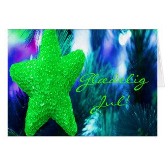 Danish Glædelig Jul,Godt Nytår Green Star II Greeting Cards